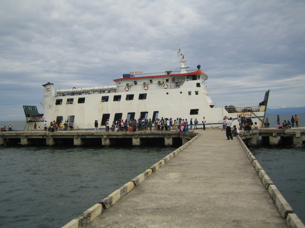 Here is the Ferry at at the pier near our Bible school in Papua.